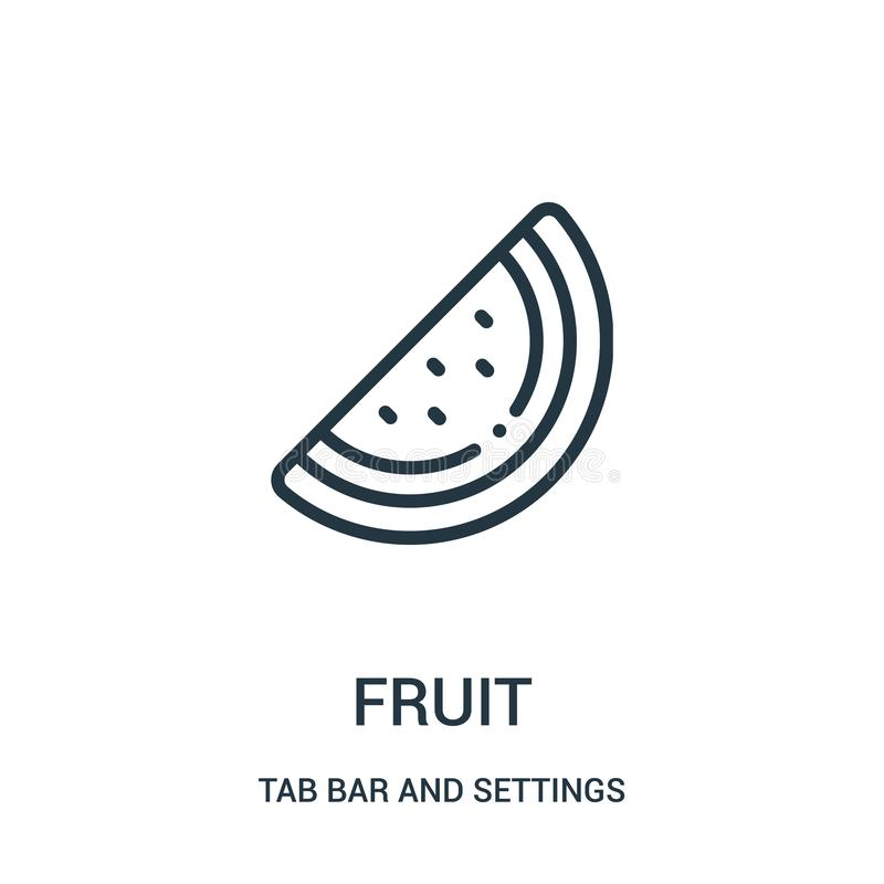 de vector van het fruitpictogram van lusjebar en montagesinzameling De dunne van het het overzichtspictogram van het lijnfruit ve royalty-vrije illustratie
