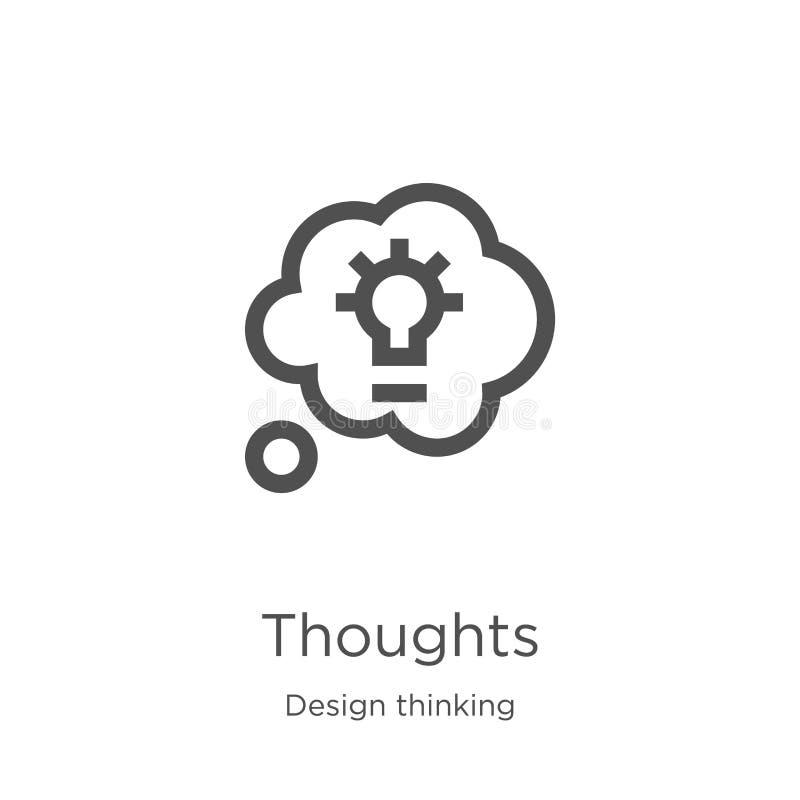 de vector van het gedachtenpictogram van ontwerp het denken inzameling De dunne van het het overzichtspictogram van lijngedachten stock illustratie
