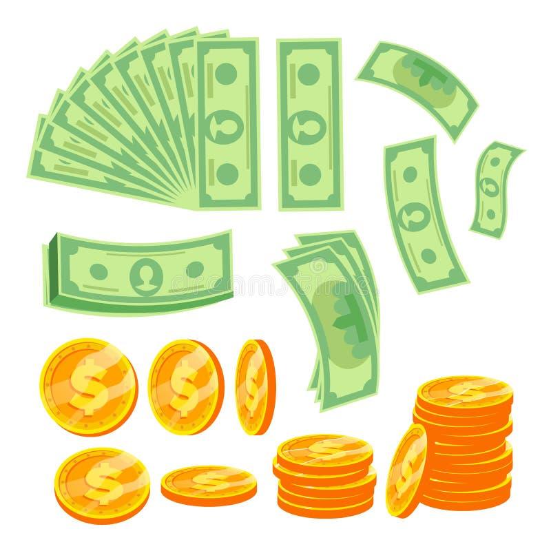 De Vector van het geldconcept Document Dollar en Gouden Muntstukken Diverse Hoeken Geïsoleerde vlakke beeldverhaalillustratie vector illustratie