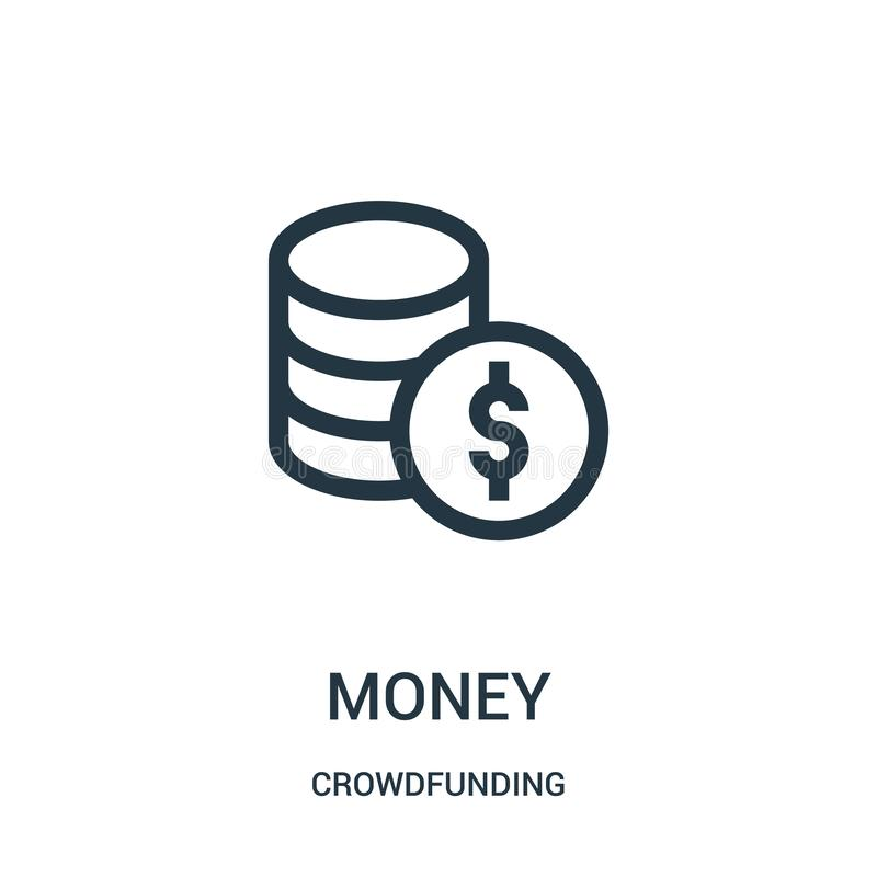de vector van het geldpictogram van het crowdfunding van inzameling De dunne van het het overzichtspictogram van het lijngeld vec vector illustratie