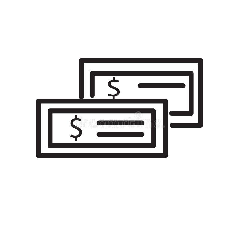 De vector van het geldpictogram op witte achtergrond, Geldteken, de lineaire symbool en elementen van het slagontwerp in overzich vector illustratie