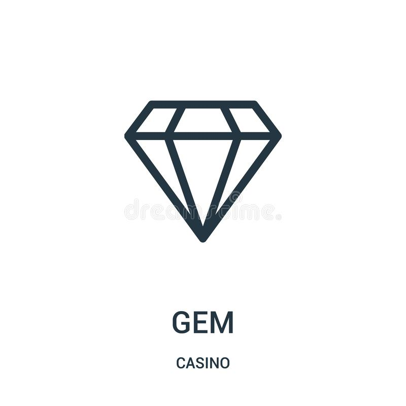 de vector van het gempictogram van casinoinzameling De dunne van het het overzichtspictogram van de lijngem vectorillustratie royalty-vrije illustratie