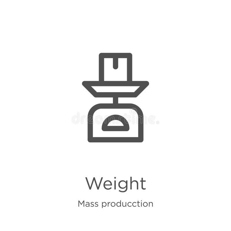 de vector van het gewichtspictogram van de inzameling van massaproducction Dunne het pictogram vectorillustratie van het lijndikt stock illustratie
