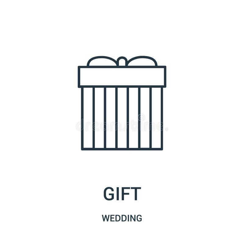 de vector van het giftpictogram van huwelijksinzameling De dunne van het het overzichtspictogram van de lijngift vectorillustrati stock illustratie