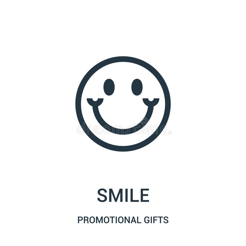 de vector van het glimlachpictogram van promotiegifteninzameling De dunne van het het overzichtspictogram van de lijnglimlach vec royalty-vrije illustratie