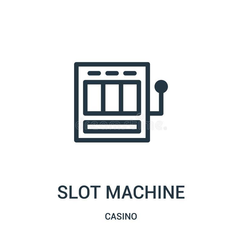 de vector van het gokautomaatpictogram van casinoinzameling De dunne van het het overzichtspictogram van de lijngokautomaat vecto royalty-vrije illustratie