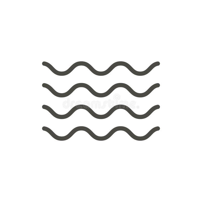 De vector van het golfpictogram De golfsymbool van het lijnwater royalty-vrije illustratie