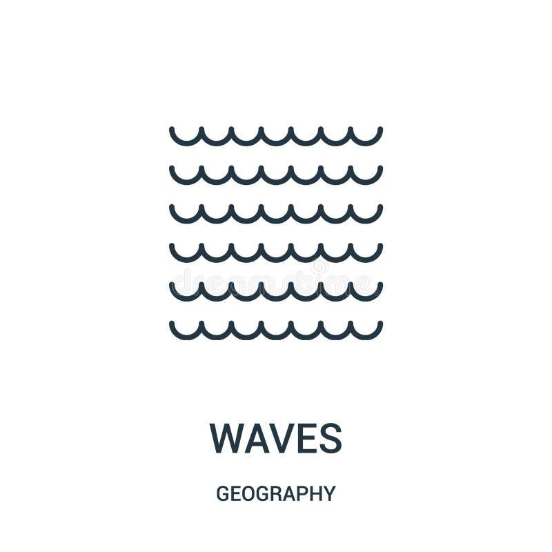 de vector van het golvenpictogram van aardrijkskundeinzameling De dunne van het het overzichtspictogram van lijngolven vectorillu stock illustratie
