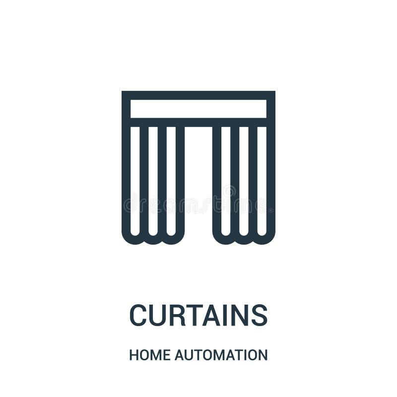 de vector van het gordijnenpictogram van de inzameling van de huisautomatisering De dunne van het het overzichtspictogram van lij stock illustratie