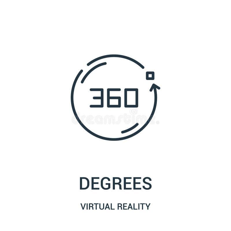 de vector van het gradenpictogram van virtuele werkelijkheidsinzameling De dunne van het het overzichtspictogram van lijngraden v stock illustratie