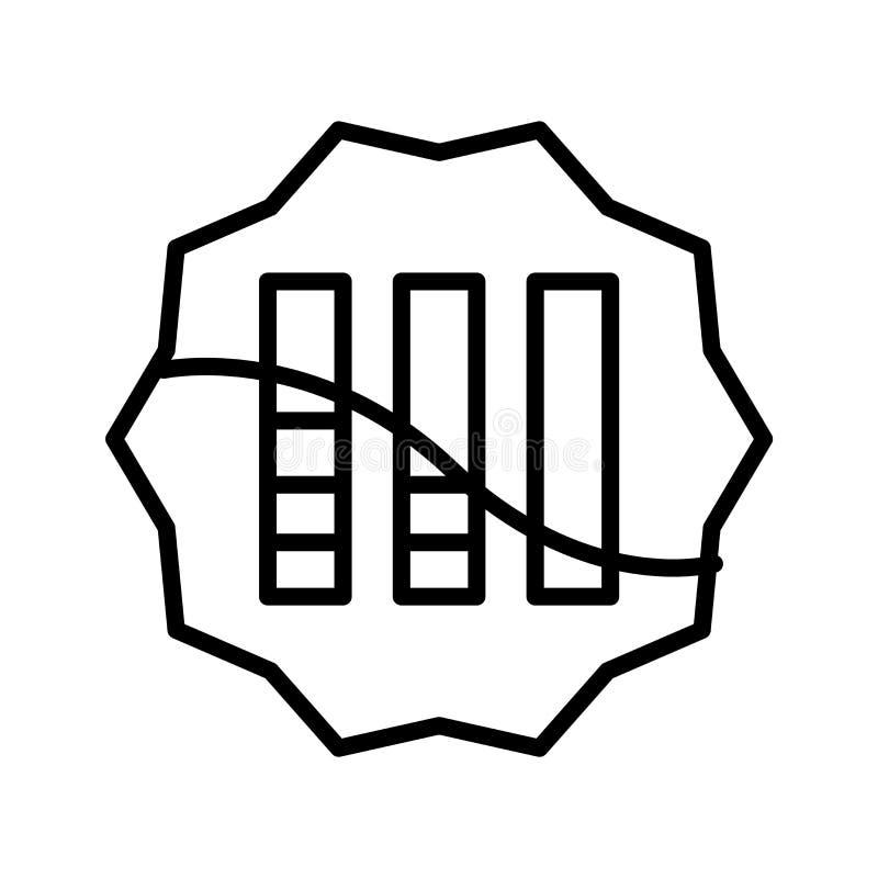 De vector van het grafiekpictogram op witte achtergrond, Grafiekteken, lijnsymbool of lineair elementenontwerp wordt geïsoleerd i royalty-vrije illustratie