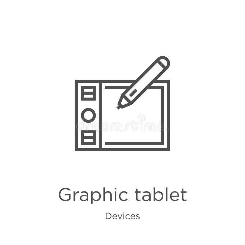 de vector van het grafische tabletpictogram van apparateninzameling De dunne van het het overzichtspictogram van de lijn grafisch royalty-vrije illustratie