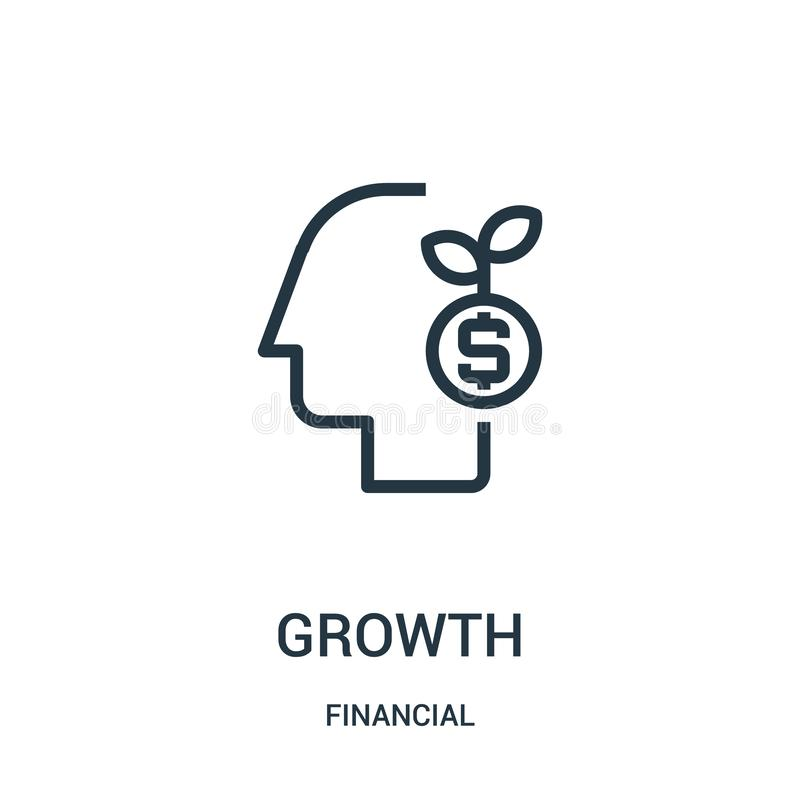 de vector van het de groeipictogram van financiële inzameling De dunne van het het overzichtspictogram van de lijngroei vectorill stock illustratie