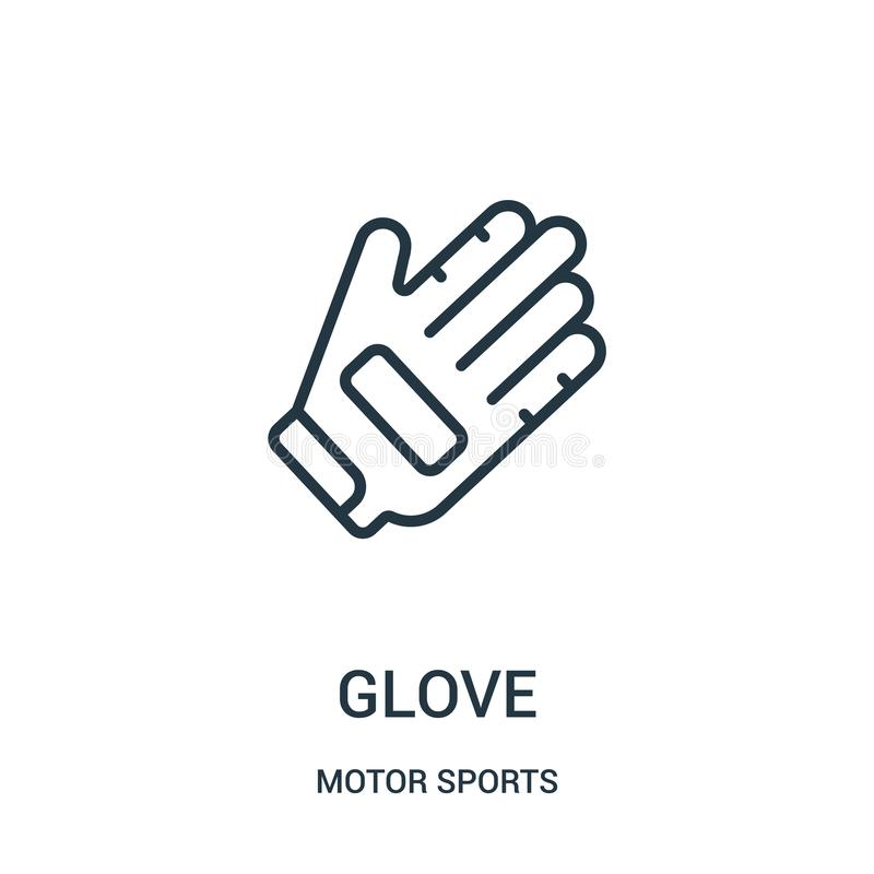 de vector van het handschoenpictogram van de inzameling van motorsporten De dunne van het het overzichtspictogram van de lijnhand stock illustratie