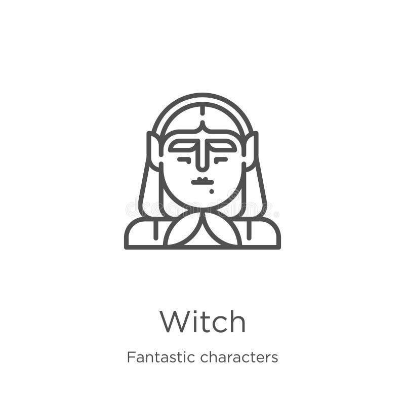de vector van het heksenpictogram van fantastische karaktersinzameling De dunne van het het overzichtspictogram van de lijnheks v royalty-vrije illustratie