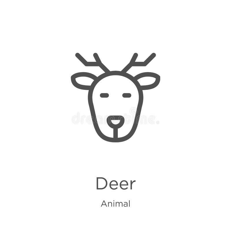 de vector van het hertenpictogram van dierlijke inzameling De dunne van het het overzichtspictogram van lijnherten vectorillustra stock illustratie