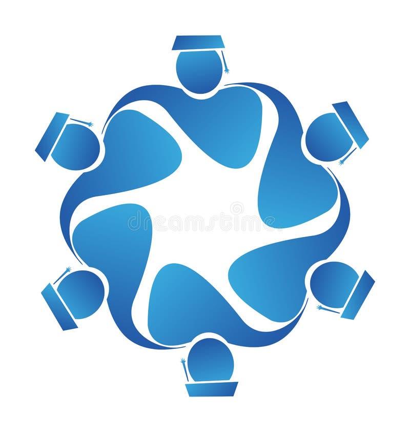 De vector van het het pictogramembleem van groepswerkgediplomeerden royalty-vrije illustratie