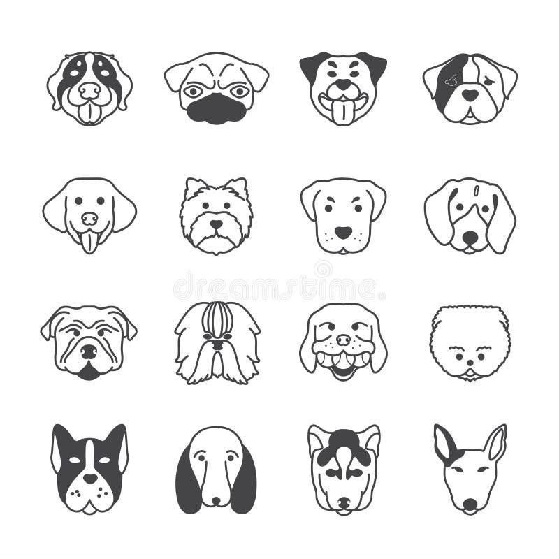 de vector van het 16 hondenpictogram royalty-vrije illustratie