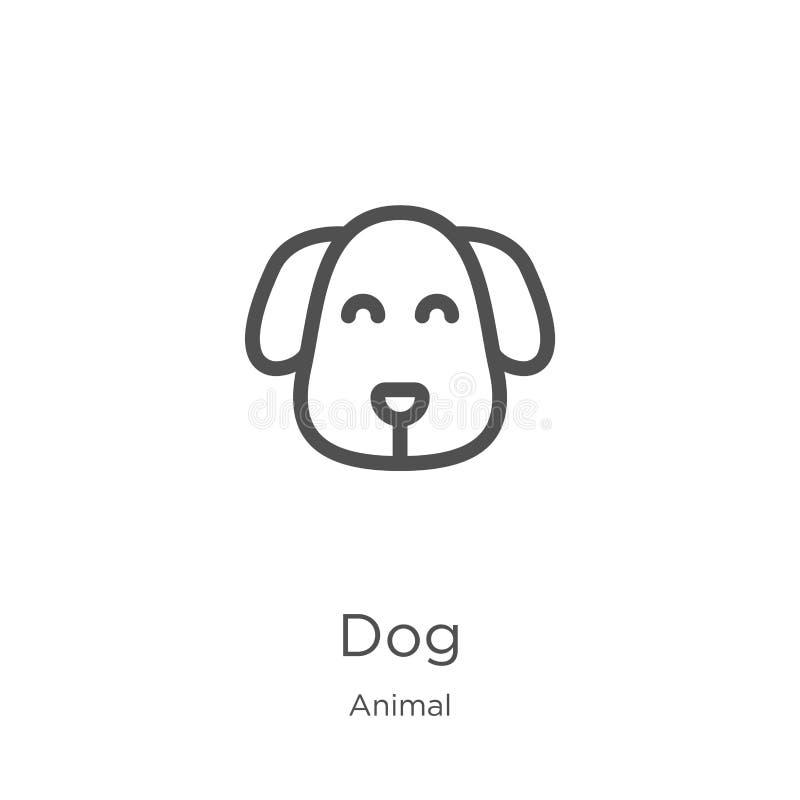 de vector van het hondpictogram van dierlijke inzameling De dunne van het het overzichtspictogram van de lijnhond vectorillustrat royalty-vrije illustratie