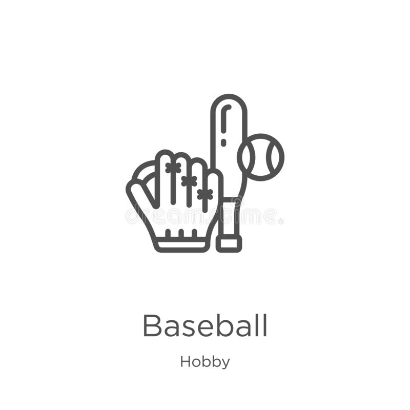 de vector van het honkbalpictogram van hobbyinzameling De dunne van het het overzichtspictogram van het lijnhonkbal vectorillustr stock illustratie