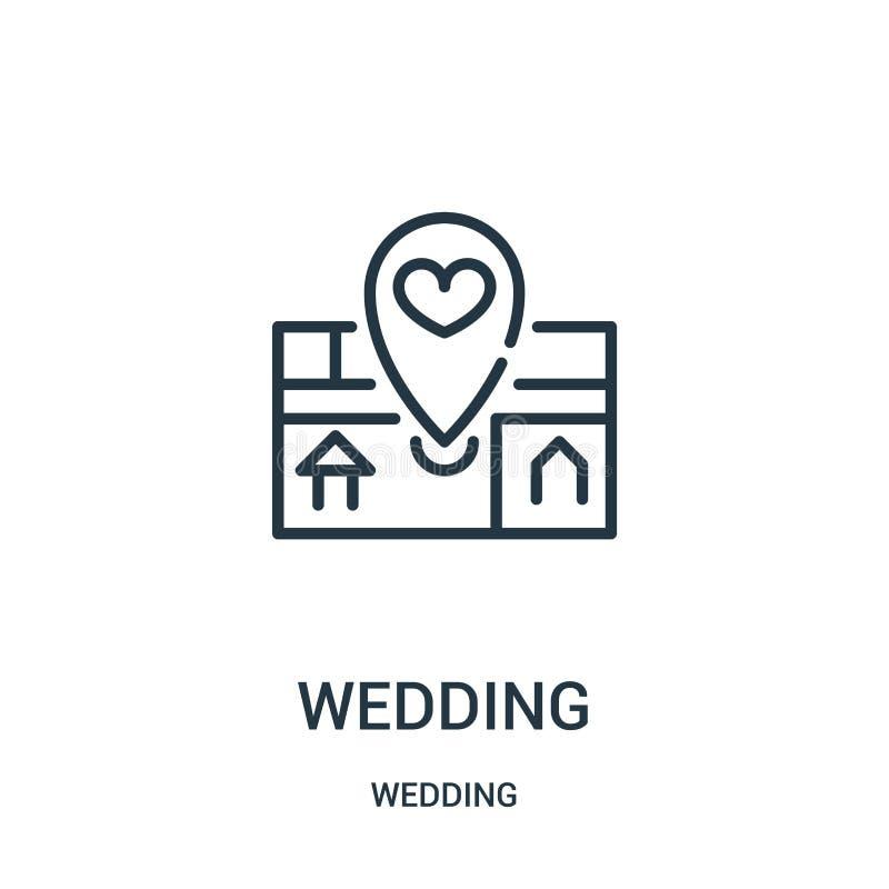 de vector van het huwelijkspictogram van huwelijksinzameling De dunne van het het overzichtspictogram van het lijnhuwelijk vector stock illustratie