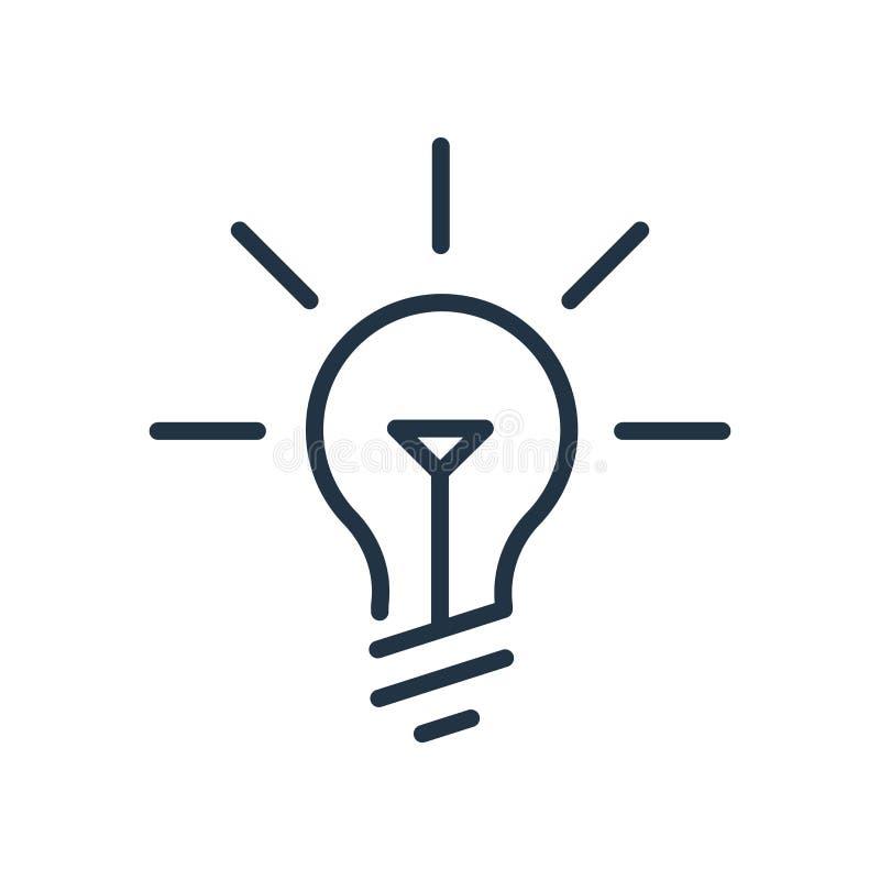 De vector van het ideepictogram op witte achtergrond, Ideeteken wordt geïsoleerd dat royalty-vrije illustratie