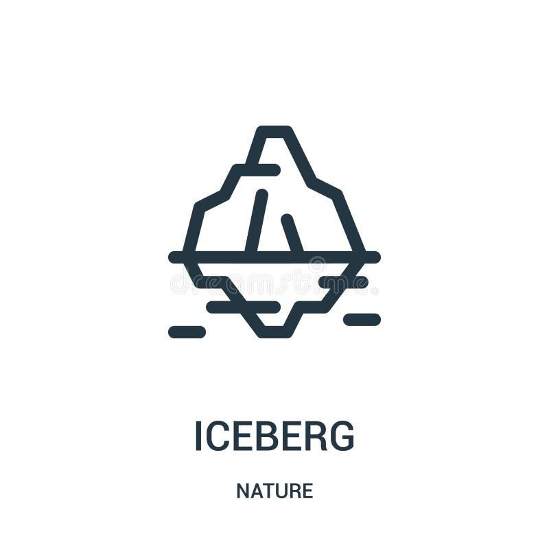 de vector van het ijsbergpictogram van aardinzameling De dunne van het het overzichtspictogram van de lijnijsberg vectorillustrat royalty-vrije illustratie