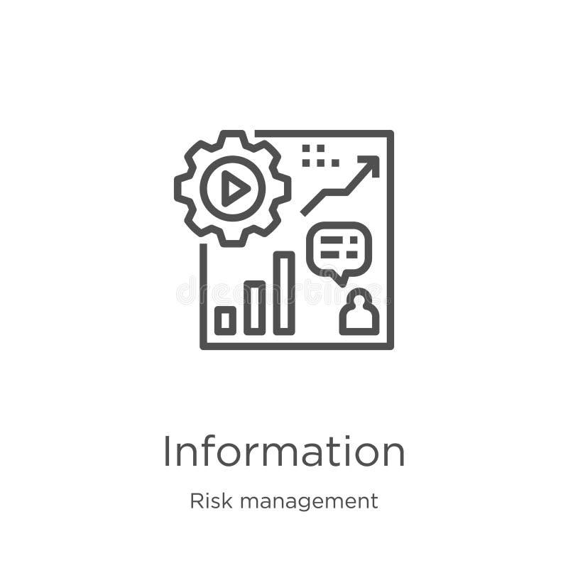 de vector van het informatiepictogram van risicobeheerinzameling De dunne van het het overzichtspictogram van de lijninformatie v royalty-vrije illustratie