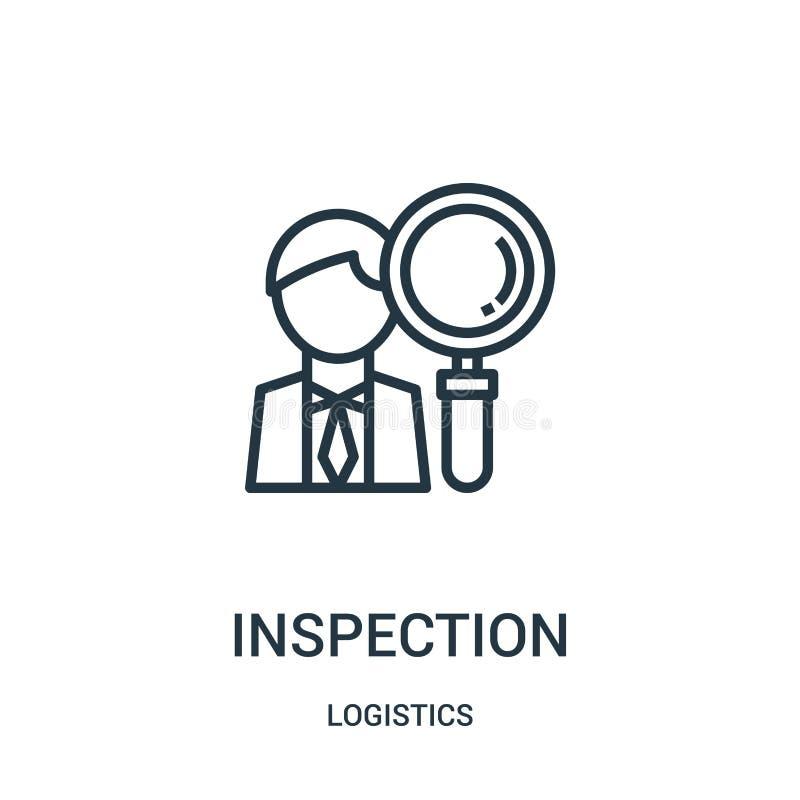 de vector van het inspectiepictogram van logistiekinzameling De dunne van het het overzichtspictogram van de lijninspectie vector vector illustratie