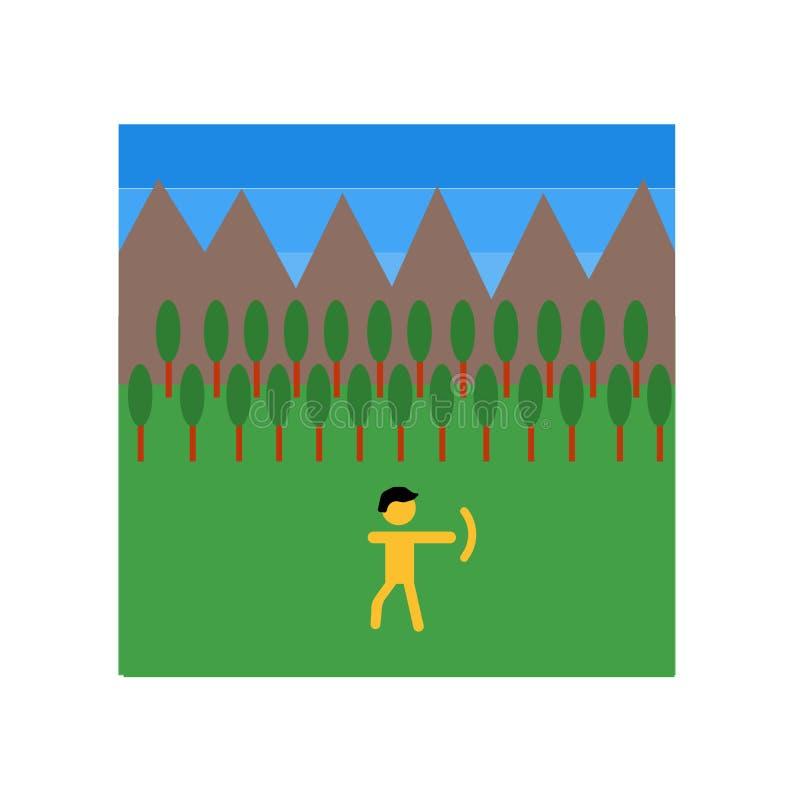 De vector van het jachtpictogram op witte achtergrond, Jachtteken, de historische symbolen dat van de steenleeftijd wordt geïsole royalty-vrije illustratie