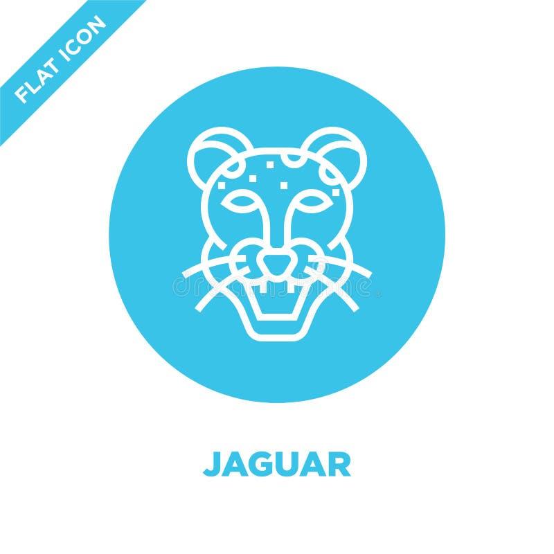 de vector van het jaguarpictogram van dierlijke hoofdinzameling De dunne van het het overzichtspictogram van de lijnjaguar vector stock illustratie
