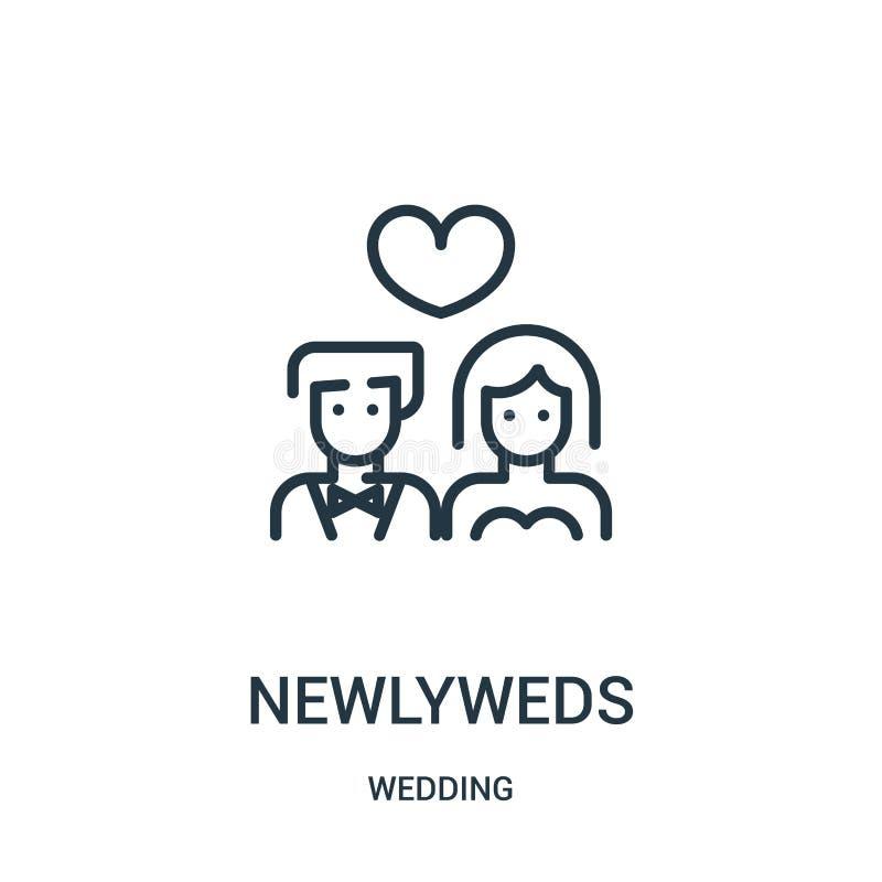 de vector van het jonggehuwdenpictogram van huwelijksinzameling De dunne van het het overzichtspictogram van lijnjonggehuwden vec stock illustratie