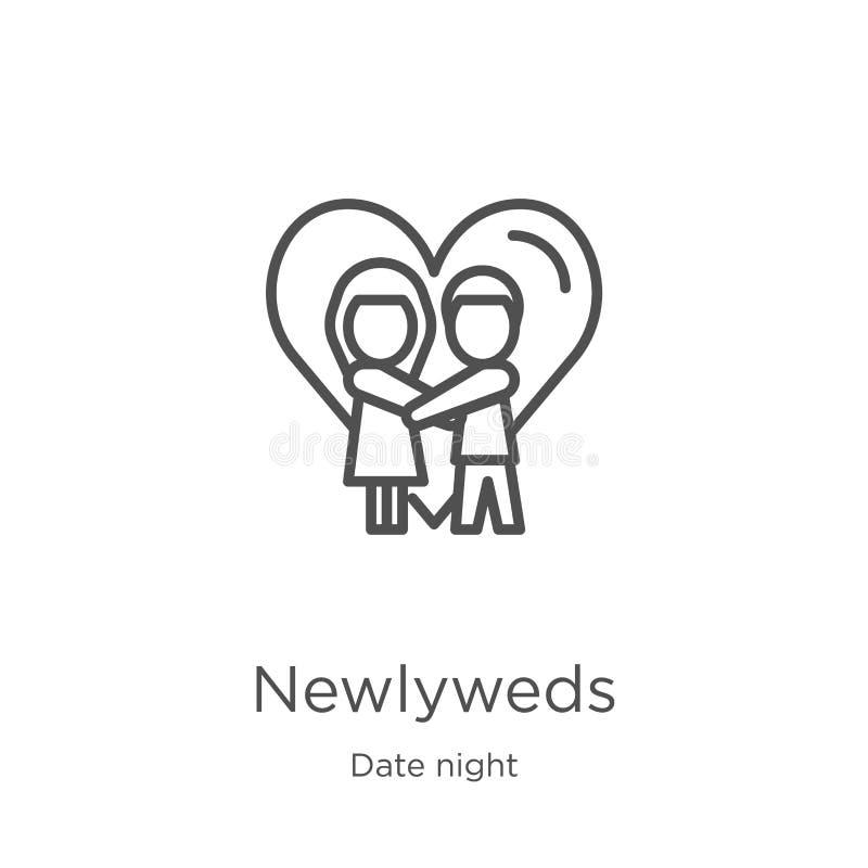 de vector van het jonggehuwdenpictogram van de inzameling van de datumnacht De dunne van het het overzichtspictogram van lijnjong royalty-vrije illustratie