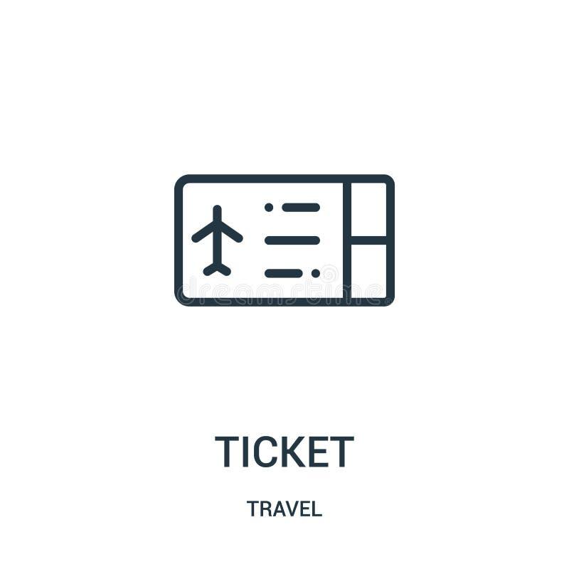 de vector van het kaartjespictogram van reisinzameling De dunne van het het overzichtspictogram van het lijnkaartje vectorillustr royalty-vrije illustratie