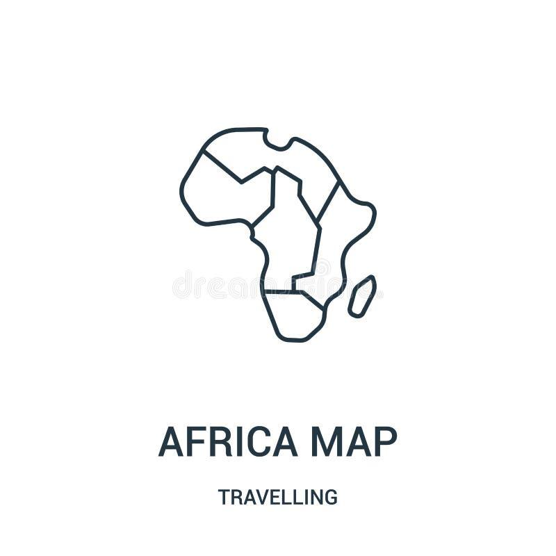 de vector van het de kaartpictogram van Afrika van reizende inzameling Dunne van het de kaartoverzicht van lijnafrika het pictogr stock illustratie