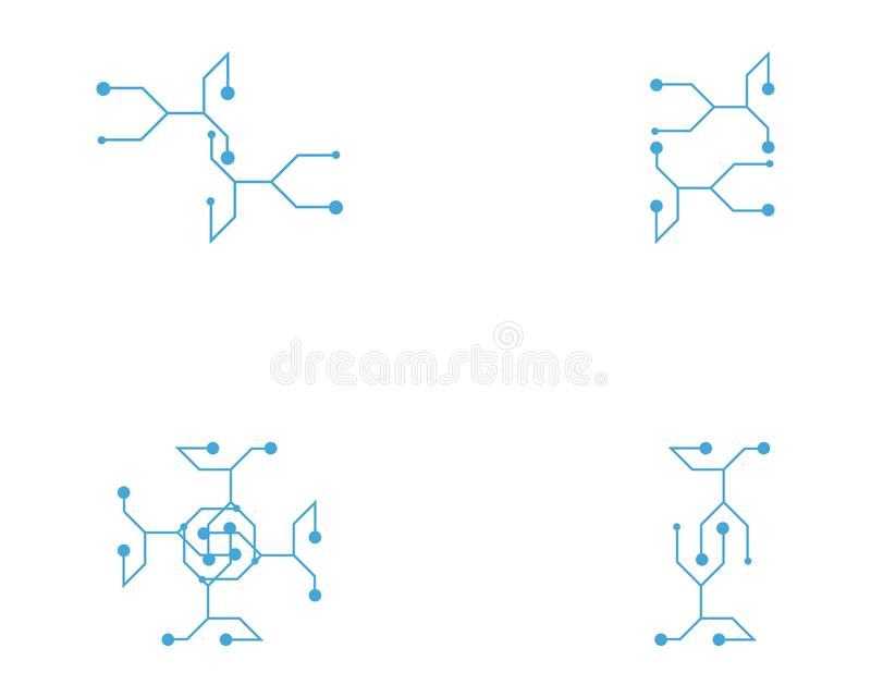 De vector van het de kabelembleem van de kringstechnologie vector illustratie