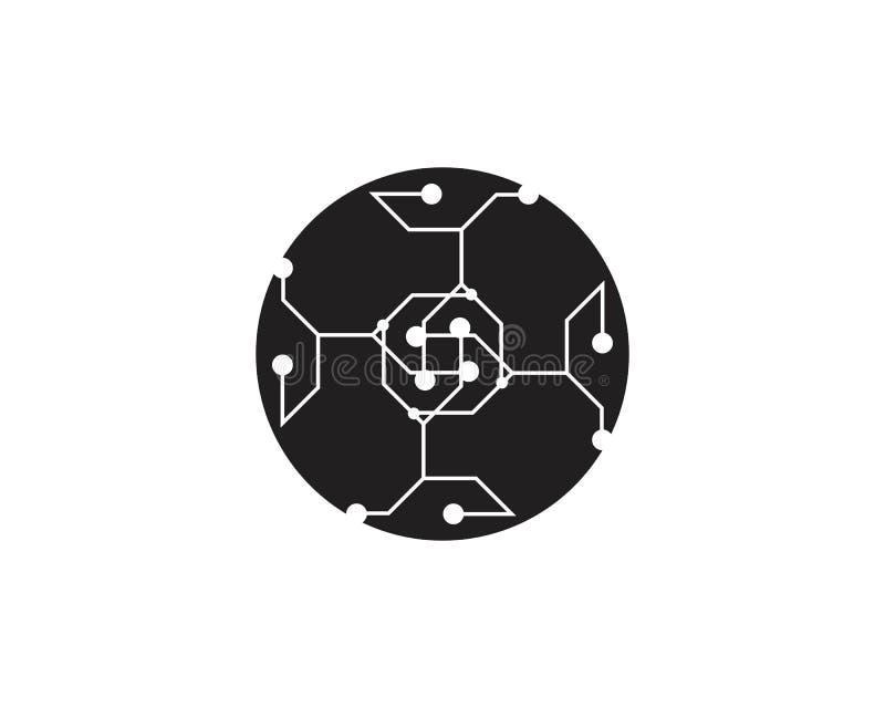 De vector van het de kabelembleem van de kringstechnologie stock illustratie