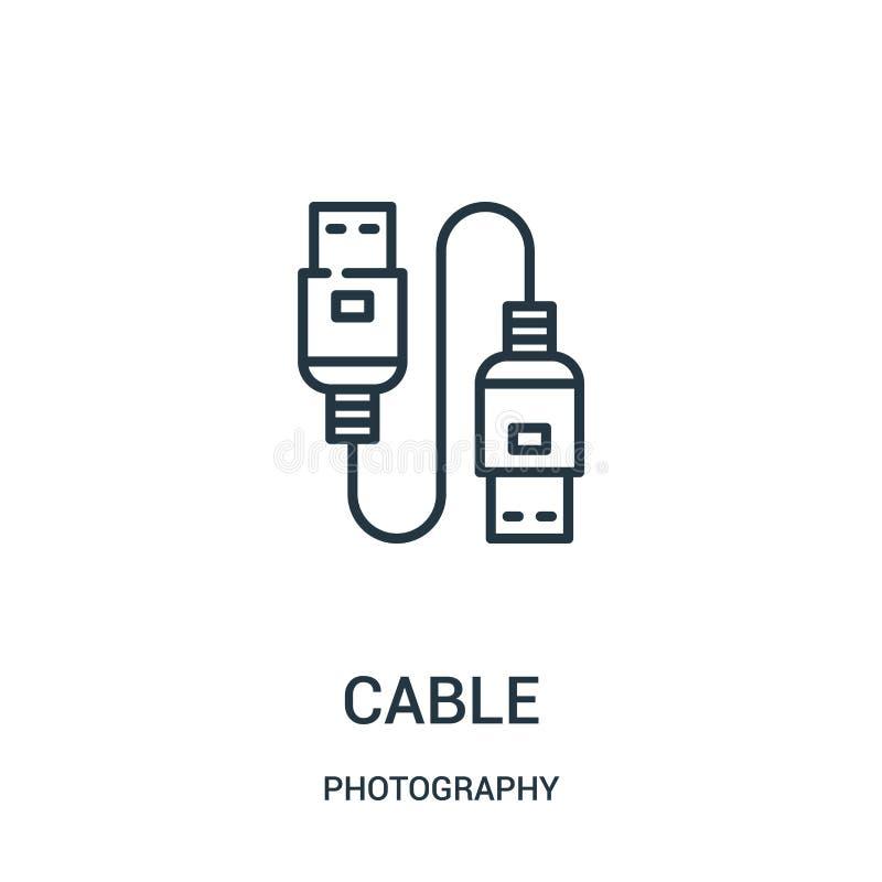 de vector van het kabelpictogram van fotografieinzameling De dunne van het het overzichtspictogram van de lijnkabel vectorillustr stock illustratie