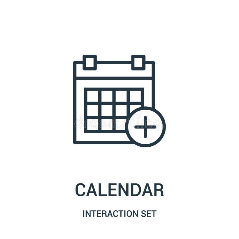 de vector van het kalenderpictogram van interactie vastgestelde inzameling De dunne van het het overzichtspictogram van de lijnka stock illustratie