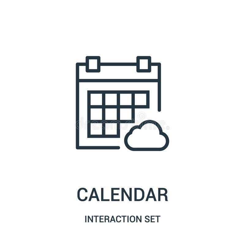 de vector van het kalenderpictogram van interactie vastgestelde inzameling De dunne van het het overzichtspictogram van de lijnka vector illustratie