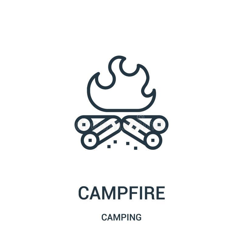 de vector van het kampvuurpictogram van het kamperen inzameling De dunne van het het overzichtspictogram van het lijnkampvuur vec vector illustratie