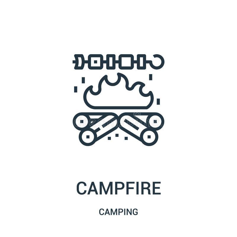 de vector van het kampvuurpictogram van het kamperen inzameling De dunne van het het overzichtspictogram van het lijnkampvuur vec royalty-vrije illustratie