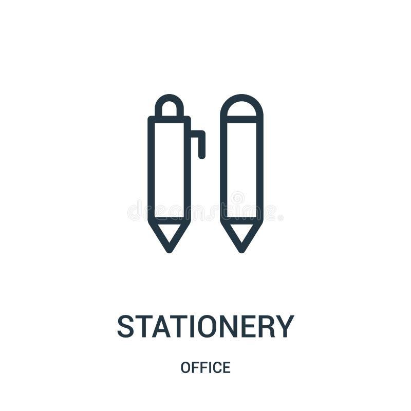 de vector van het kantoorbehoeftenpictogram van bureauinzameling De dunne van het het overzichtspictogram van de lijnkantoorbehoe vector illustratie
