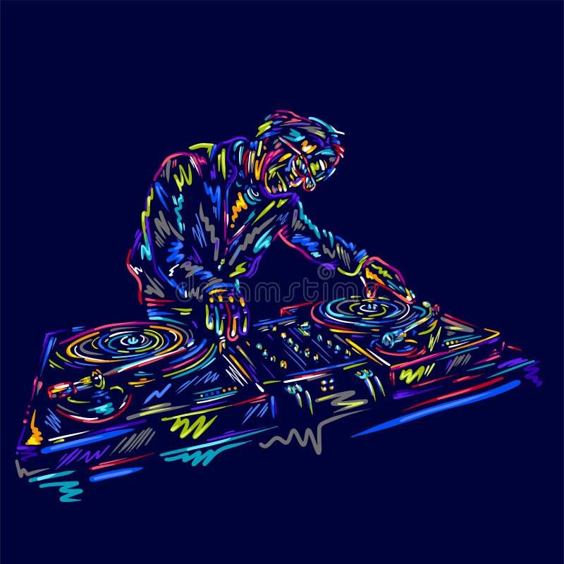 De vector van de het karaktermens van DJ met kleurrijke muziekhand getrokken schets Disco, dans, pret, festivalvinyl royalty-vrije illustratie
