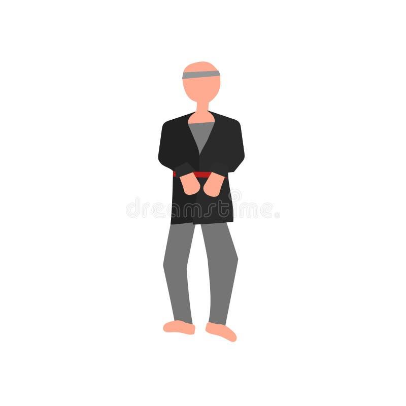 De vector van het karatepictogram op witte achtergrond, Karateteken, menselijke illustraties, menselijke illustraties wordt geïso royalty-vrije illustratie