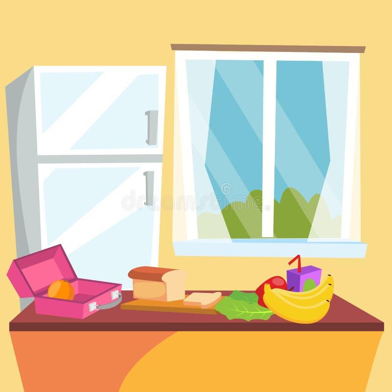 De Vector van het keukenbeeldverhaal Klassieke Huiseetkamer Het binnenlandse ontwerp van de keuken Eettafel, Vruchten, Ijskast vl vector illustratie