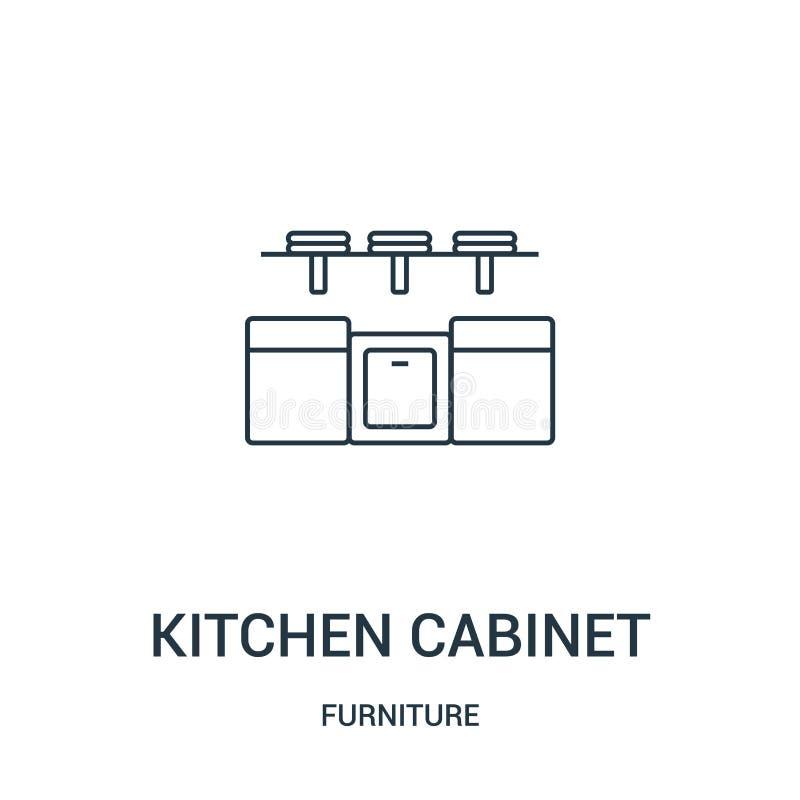 de vector van het keukenkastpictogram van meubilairinzameling De dunne van het het overzichtspictogram van de lijnkeukenkast vect stock illustratie