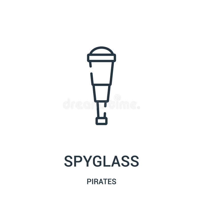 de vector van het kijkerpictogram van pirateninzameling De dunne van het het overzichtspictogram van de lijnkijker vectorillustra royalty-vrije illustratie