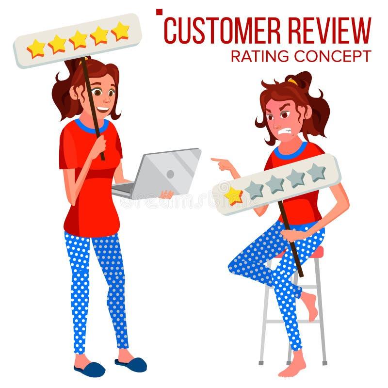 De Vector van het klantenoverzicht E r Huldeblijkenberichten Het Werk van de opslagkwaliteit Geïsoleerde vlakte vector illustratie
