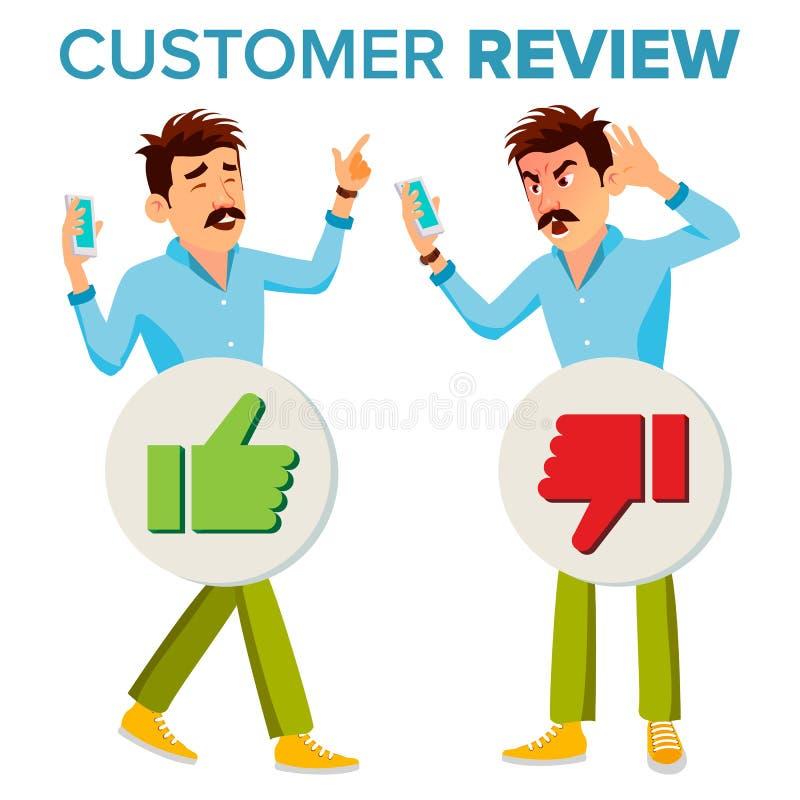 De Vector van het klantenoverzicht Gelukkige en Ongelukkige Mens De goede en Slechte Terugkoppeling van de Klantencliënt Het Werk vector illustratie